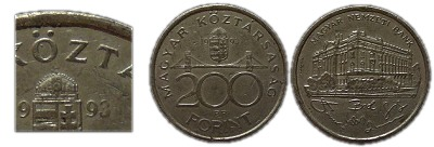 1993-as 200 forint hamis ólom