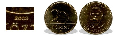 2003-as 20 forint Deák Ferenc BU